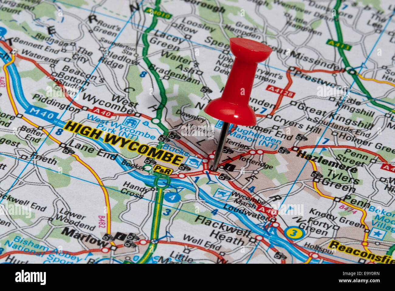 High Wycombe Map red map pin in road map pointing to city of High Wycombe Stock
