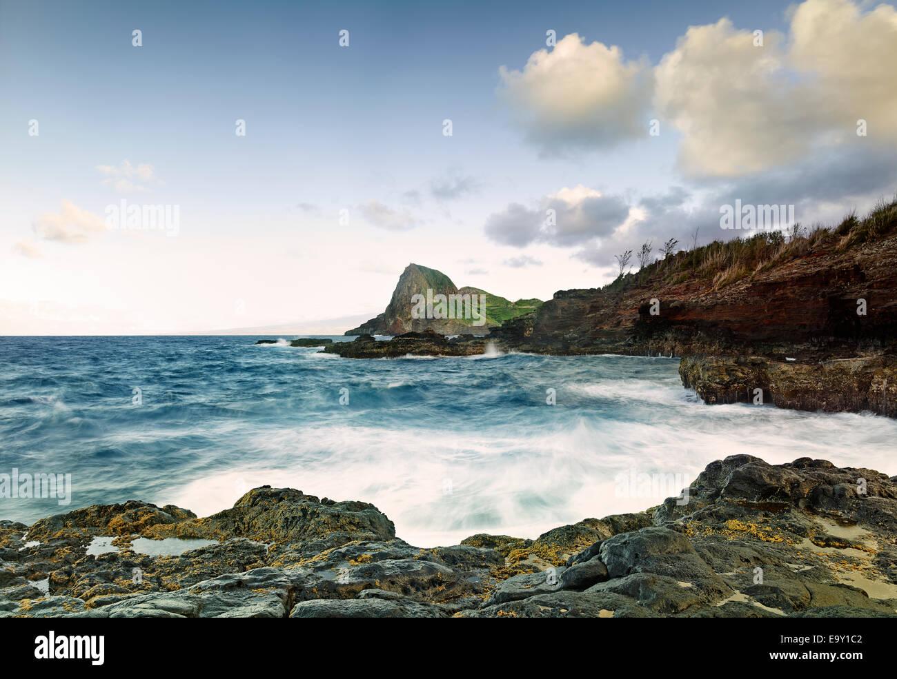 Coastline at Kahakuloa Bay, Maui, Hawaii, United States - Stock Image