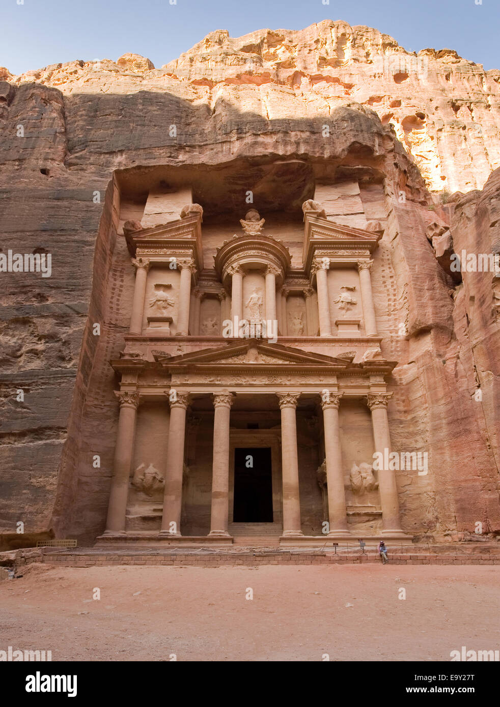 The treasury is also called Al Khazna, it is the most magnificent and famous facade in Petra Jordan, Stock Photo