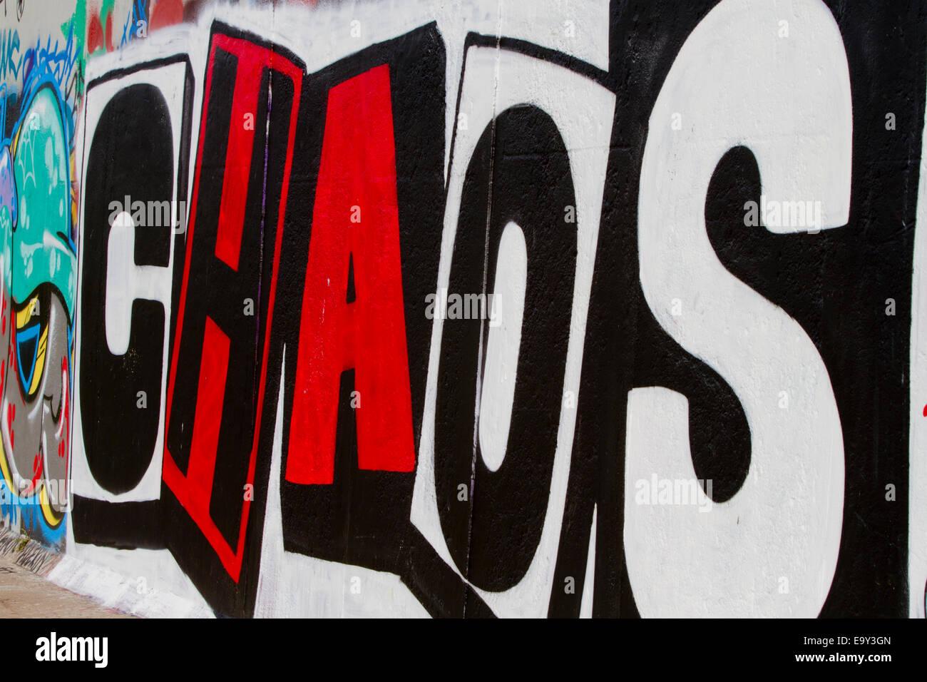 Chaos Berlin Wall Graffiti Block Letters Red White