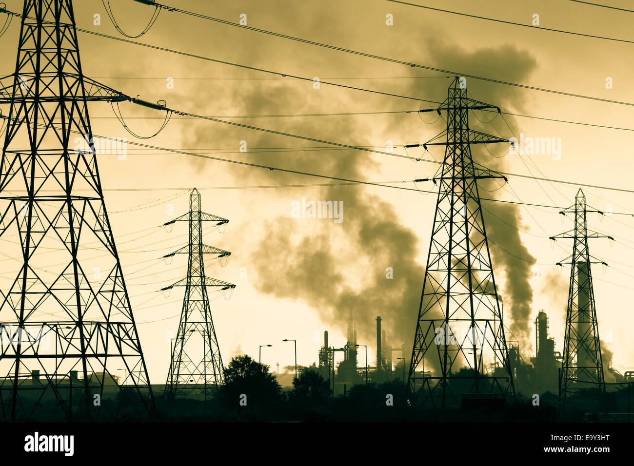 Industrial smoke from petro chemical works at Seal Sands near Middlesbrough, north east England. UK - Stock Image