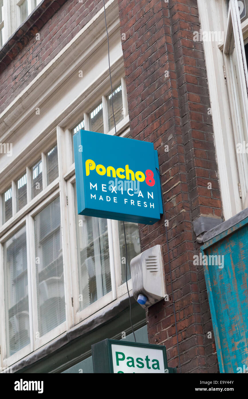Poncho 8 mexican restaurant sign, London, England - Stock Image