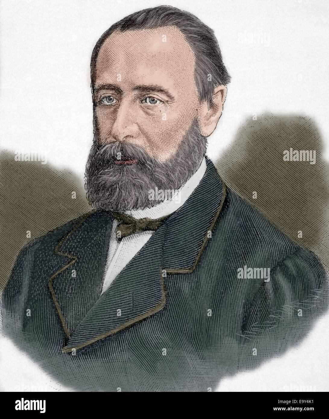 Mikhail Katkov (1818-1887). Russian journalist. Engraving by Kaeseberg, Universal History, 1885. Colored. - Stock Image