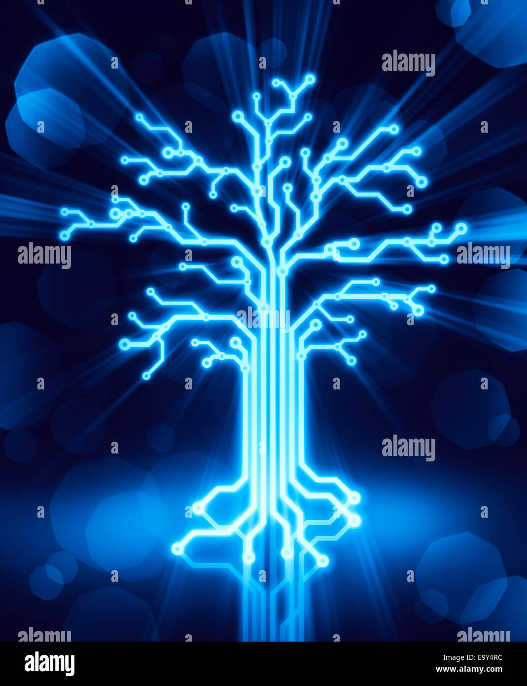 Glowing digital tree made of circuits, conceptual illustration blue on black background - Stock Image