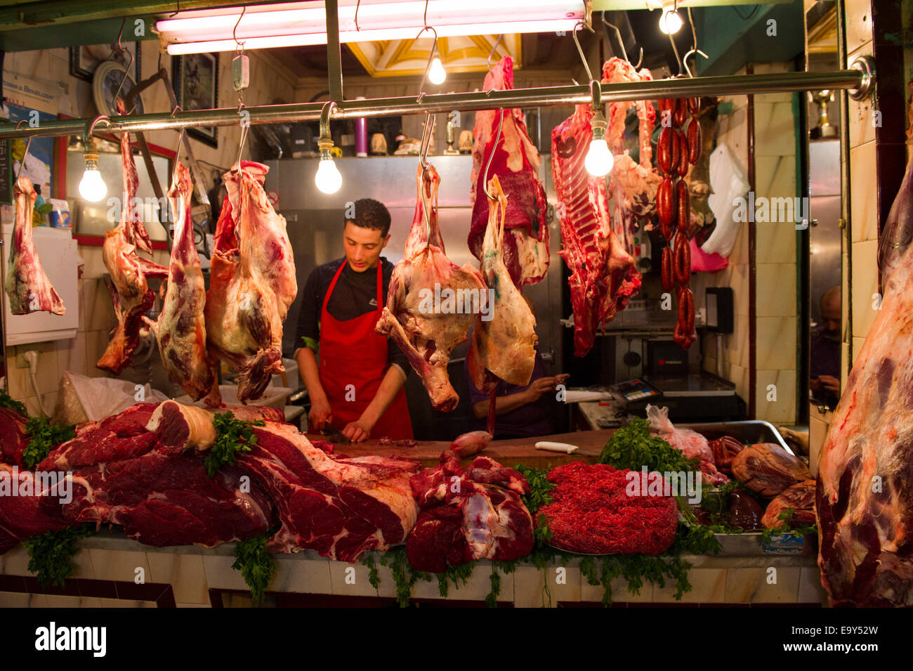 Meat seller butcher Morroco Kasbah - Stock Image