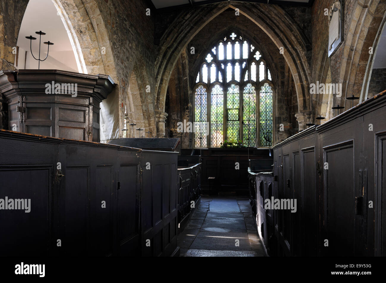 Rare box pews and a double decker pulpit found in Holy Trinity Church, Goodramgate, City of York, England - Stock Image