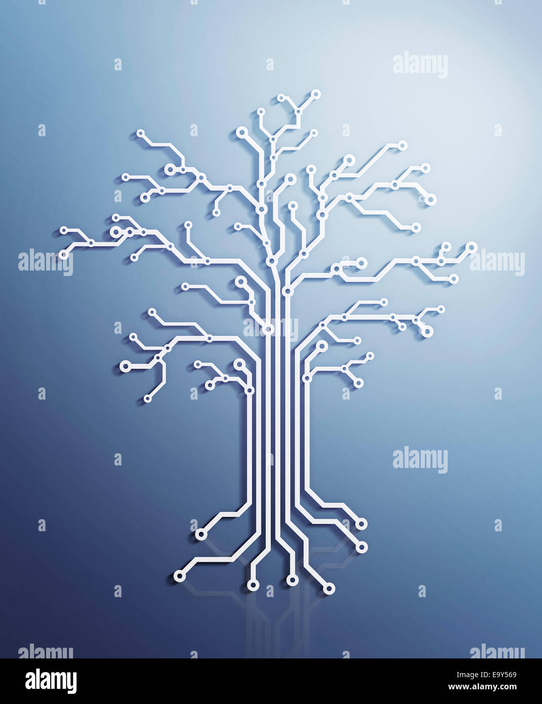 Digital tree made of electronic circuits, conceptual illustration on blue background - Stock Image