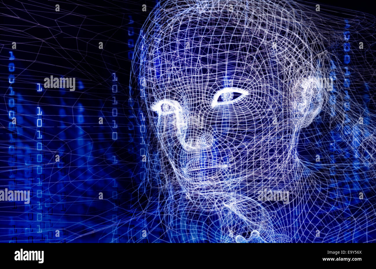 Woman digital wireframe face conceptual 3D illustration with binary code on dark blue background - Stock Image