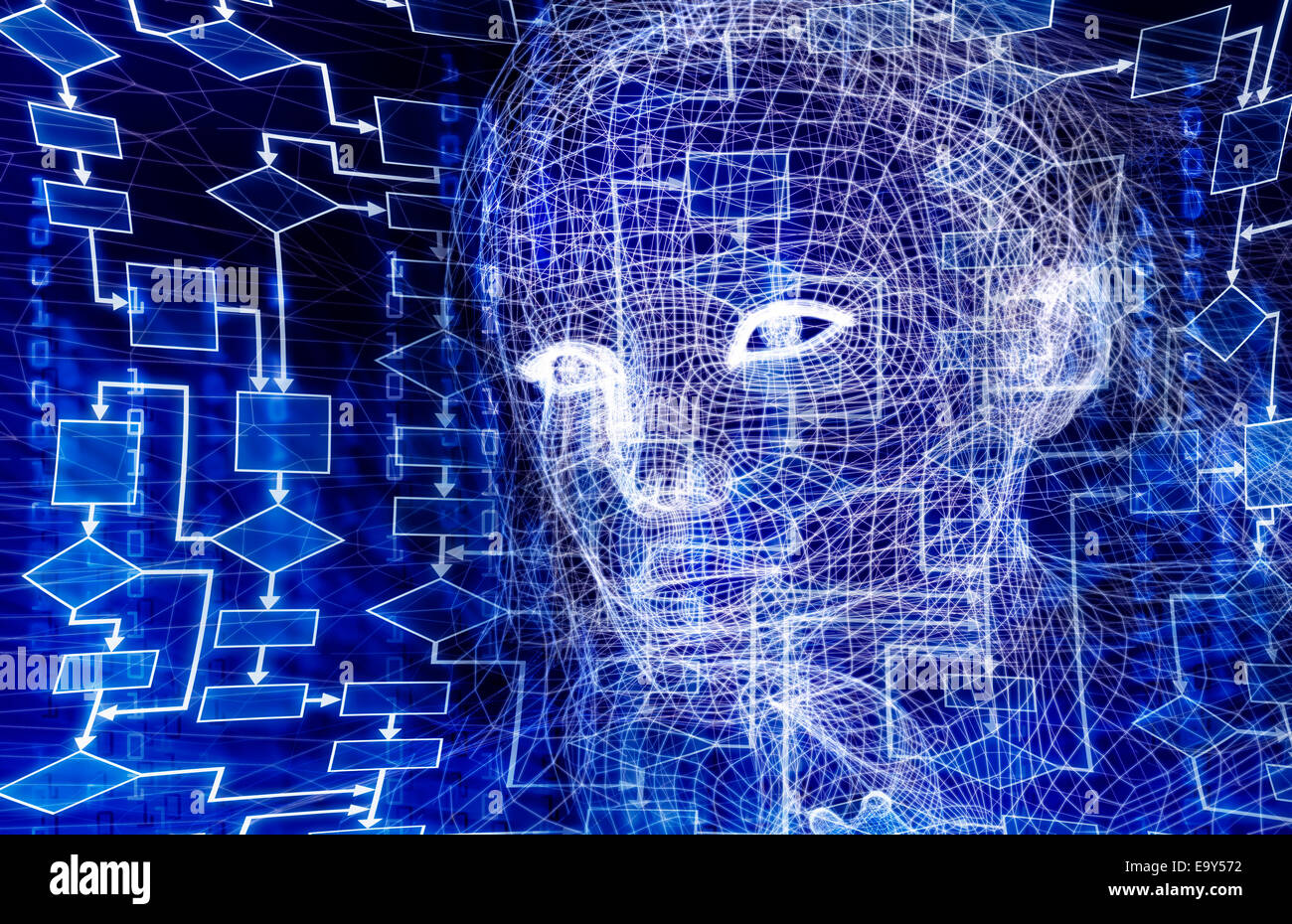 Woman digital wireframe face conceptual 3D illustration with a flow chart and binary code on dark blue background - Stock Image