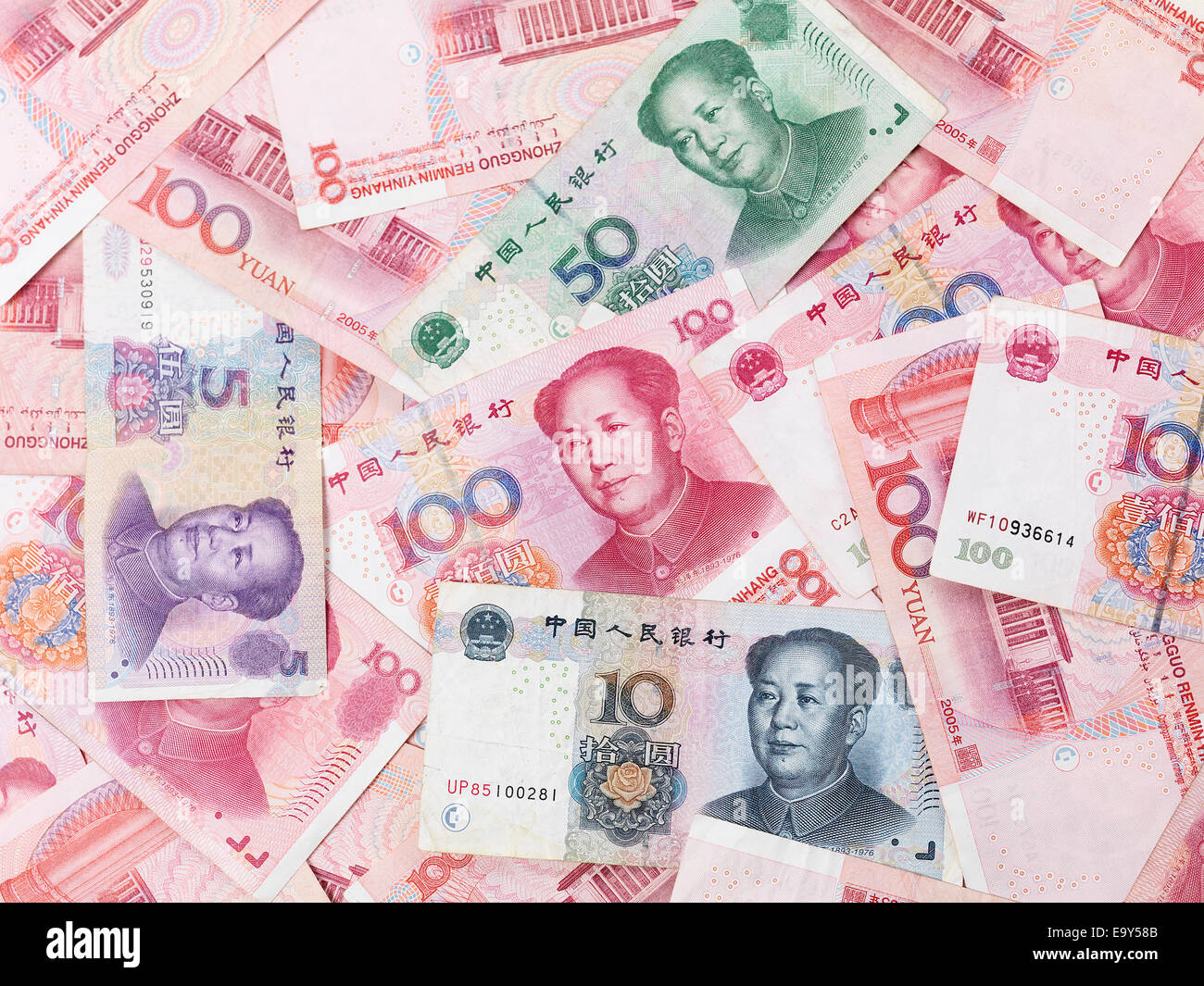 Chinese Yuan money, bills, Renminbi currency background - Stock Image