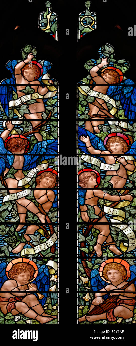 The commemorative window to the step-daughters of Dora Wordsworth in Rydal Church, Lake District, England - Stock Image