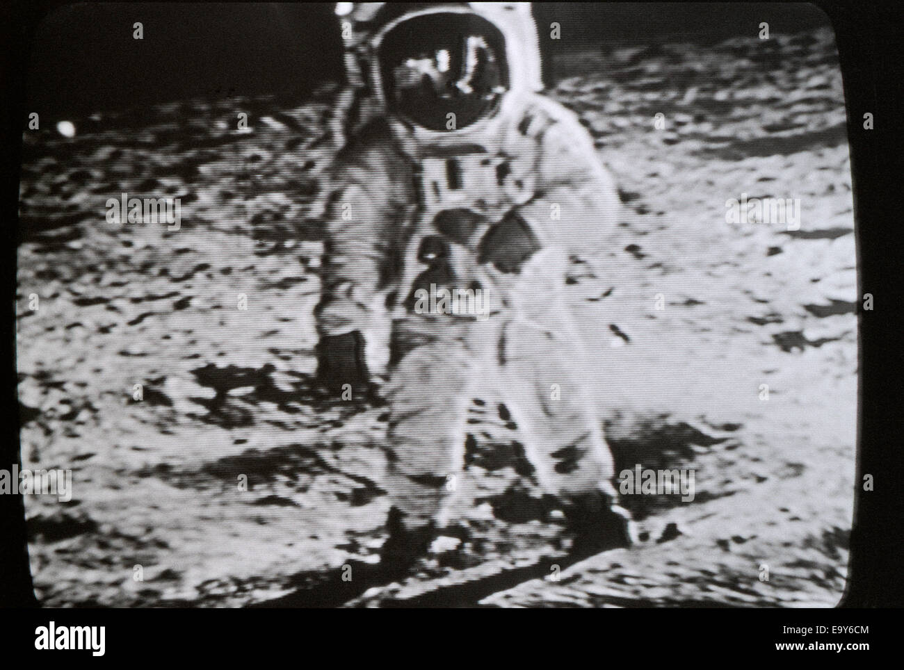 Moon landing 20 July 1969 Apollo 11 astronaut Neil Armstrong photographed standing on the surface of the moon in Stock Photo