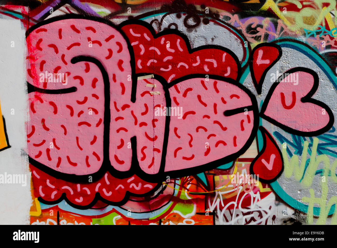Berlin Wall Graffiti Urban Colour Stock Photos & Berlin Wall ...