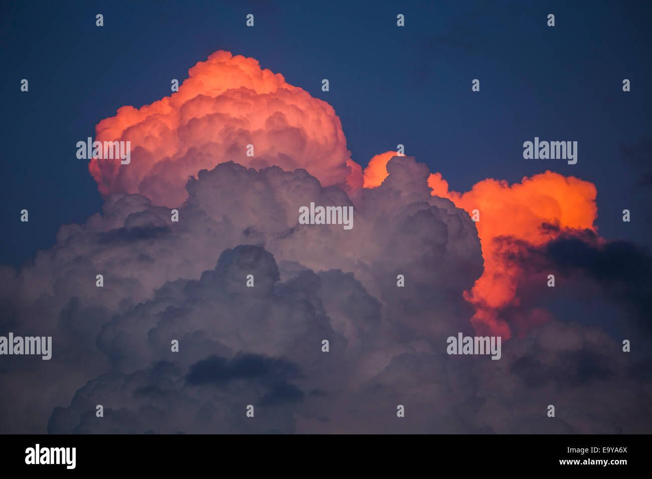 Sunset convection over eastern Nebraska. - Stock Image