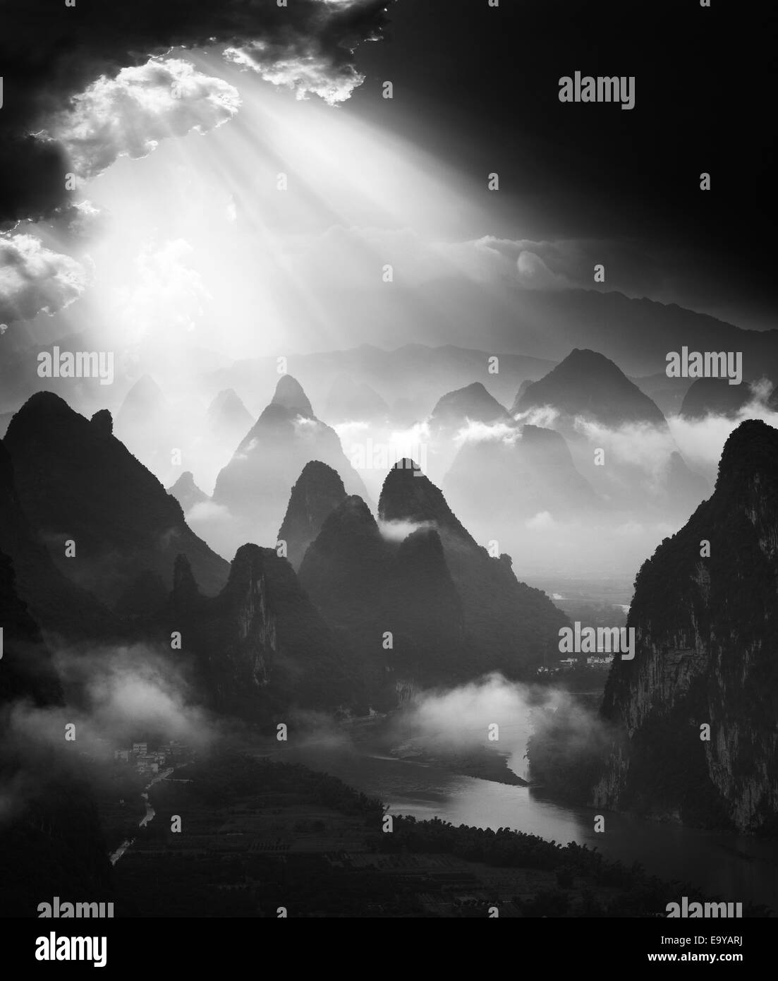Guilin, Yangshuo scenery - Stock Image