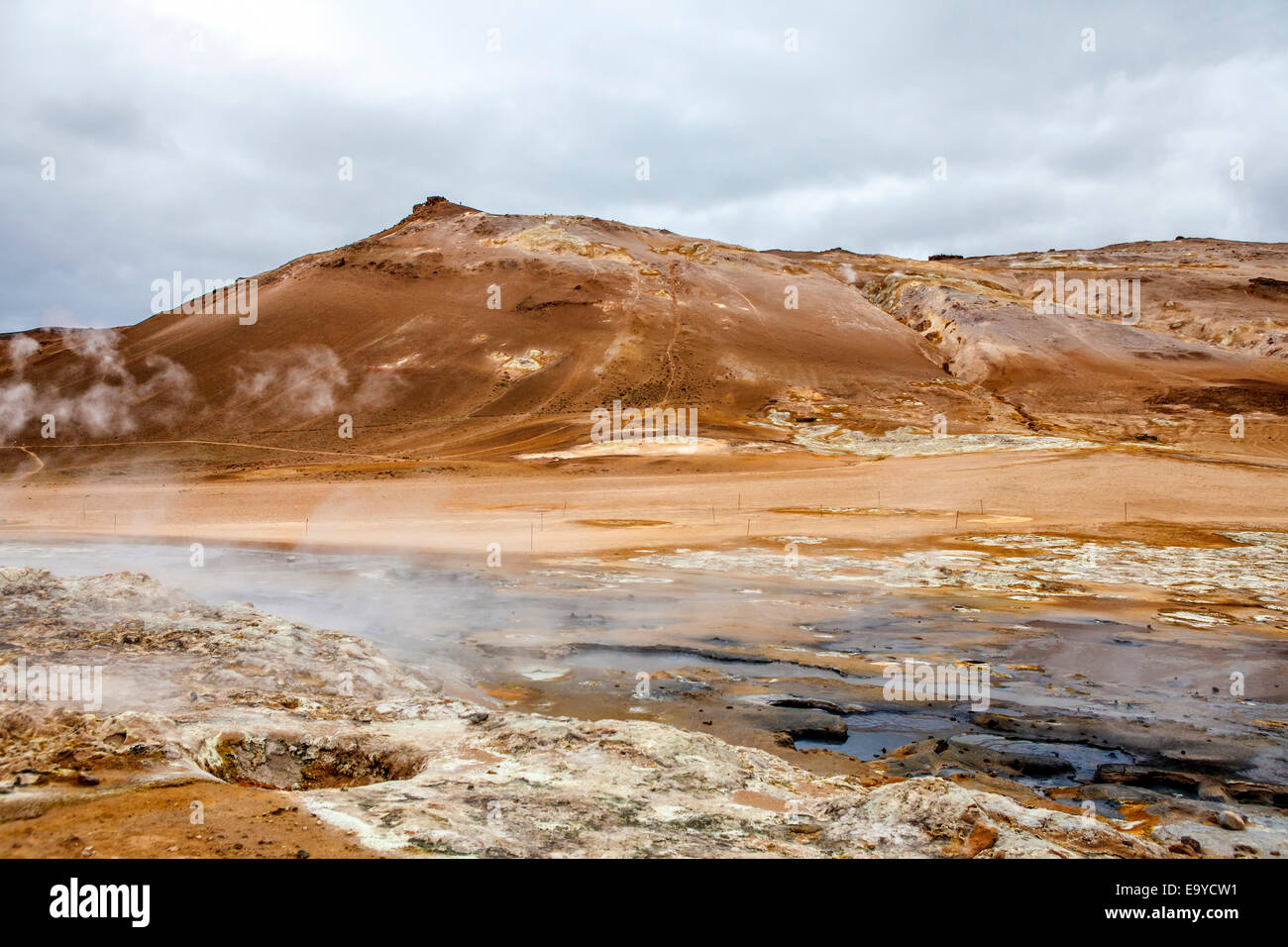 Geothermal region of Hverir in Iceland near Myvatn Lake, with fumaroles venting pressurised gases, sulphur springs - Stock Image
