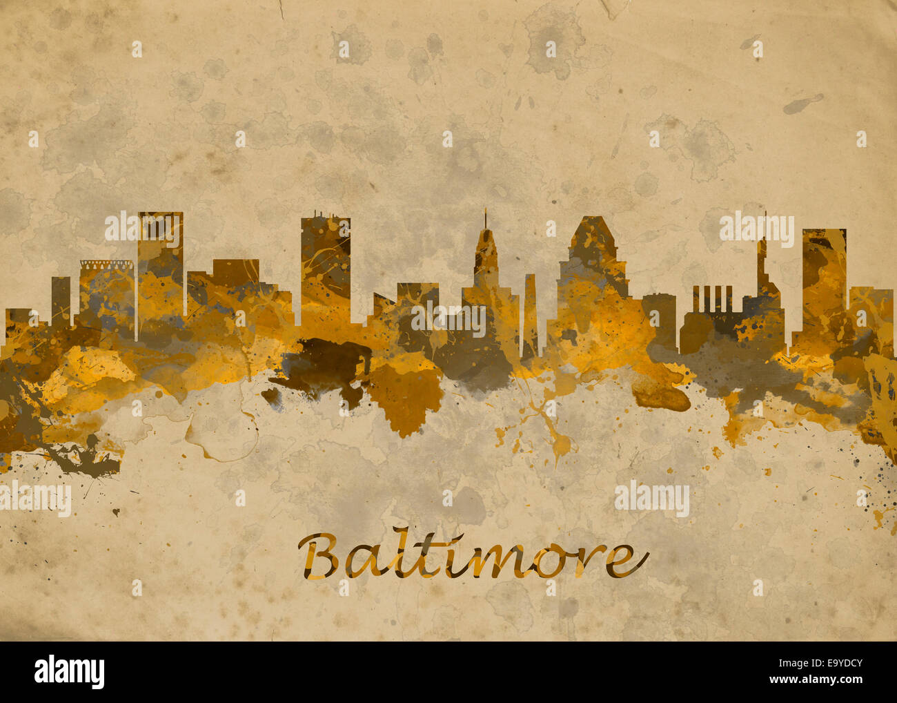 Watercolor art print of the skyline of Baltimore USA Beautiful Wall ...