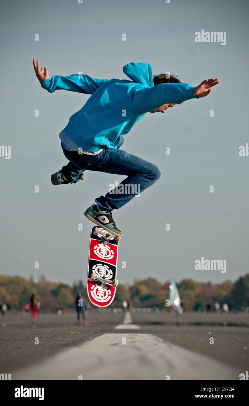 A Skateboarder Performs His Skills On His