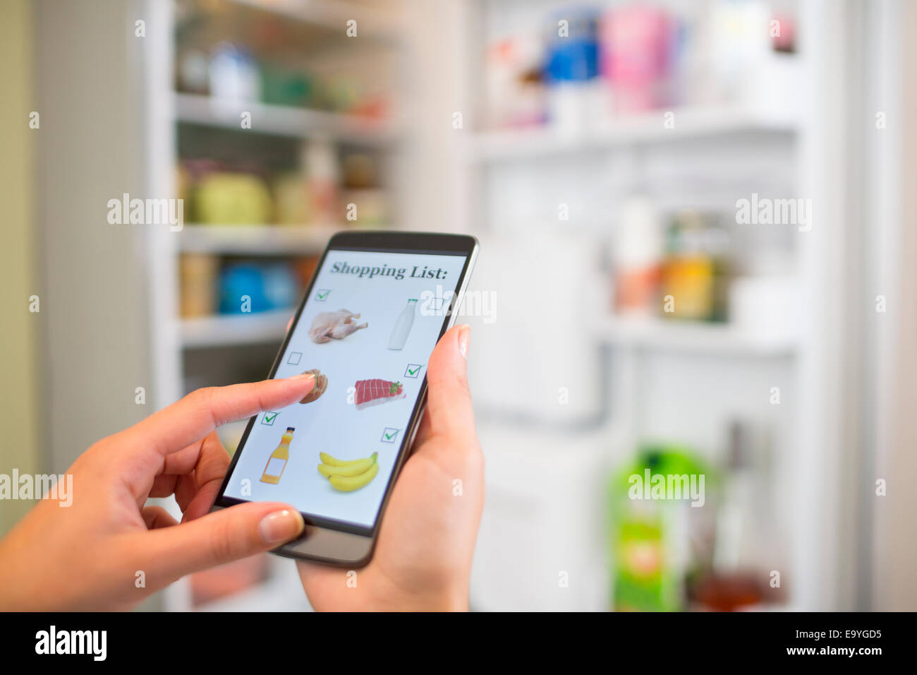 app application background business communication computer connection contact female food hand holding internet - Stock Image