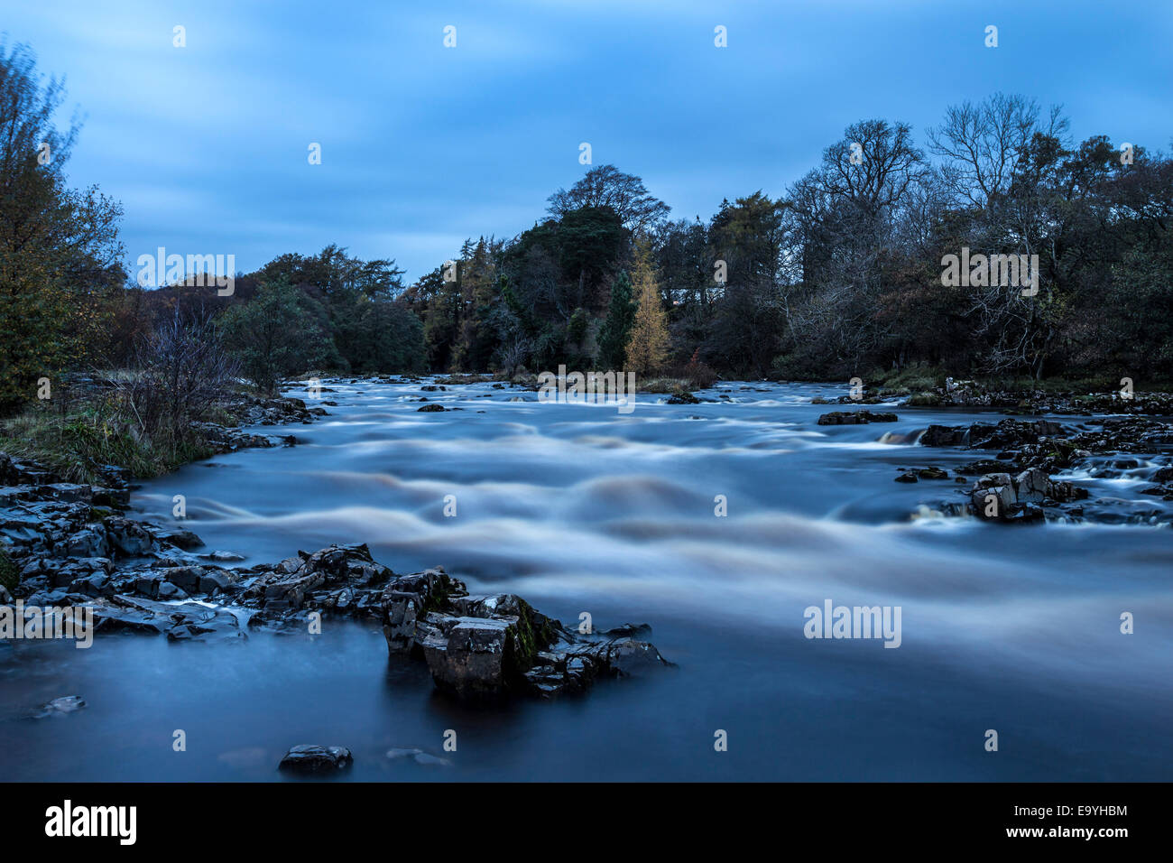 The River Tees at Night, Bowlees, Teesdale County Durham UK - Stock Image