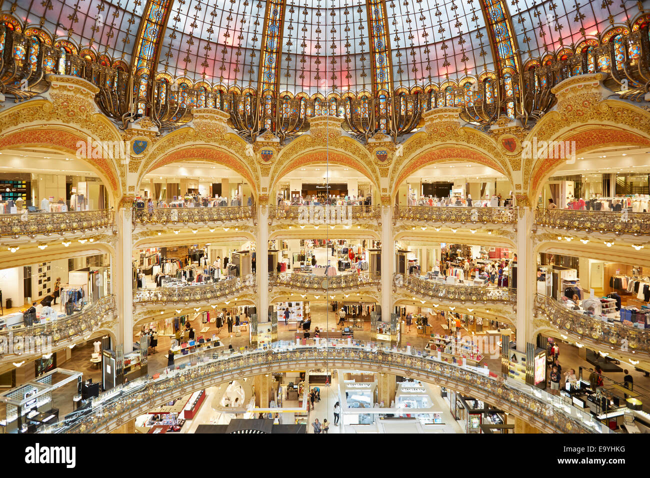 Galeries Lafayette interior in Paris, luxury shopping mall - Stock Image