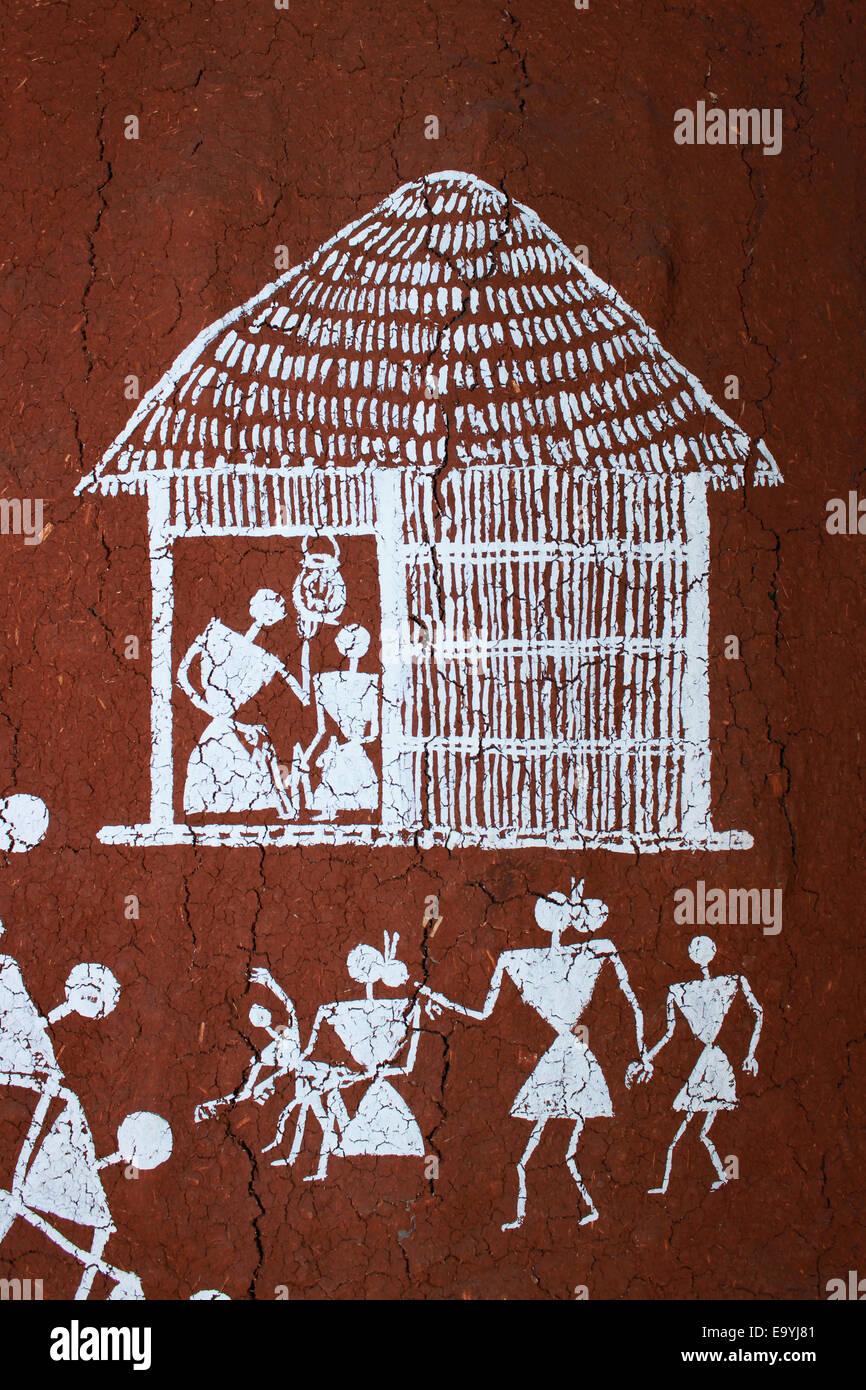 Warli tribal painting maharashtra india stock photo 74980417 alamy warli tribal painting maharashtra india altavistaventures Image collections