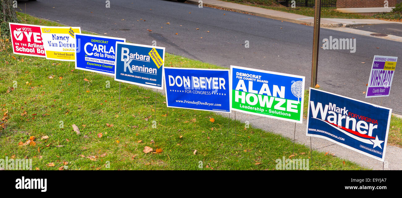 Arlington, Virginia, USA. 4th November, 2014. Campaign signs for Democratic candidates in Virginia, on election - Stock Image