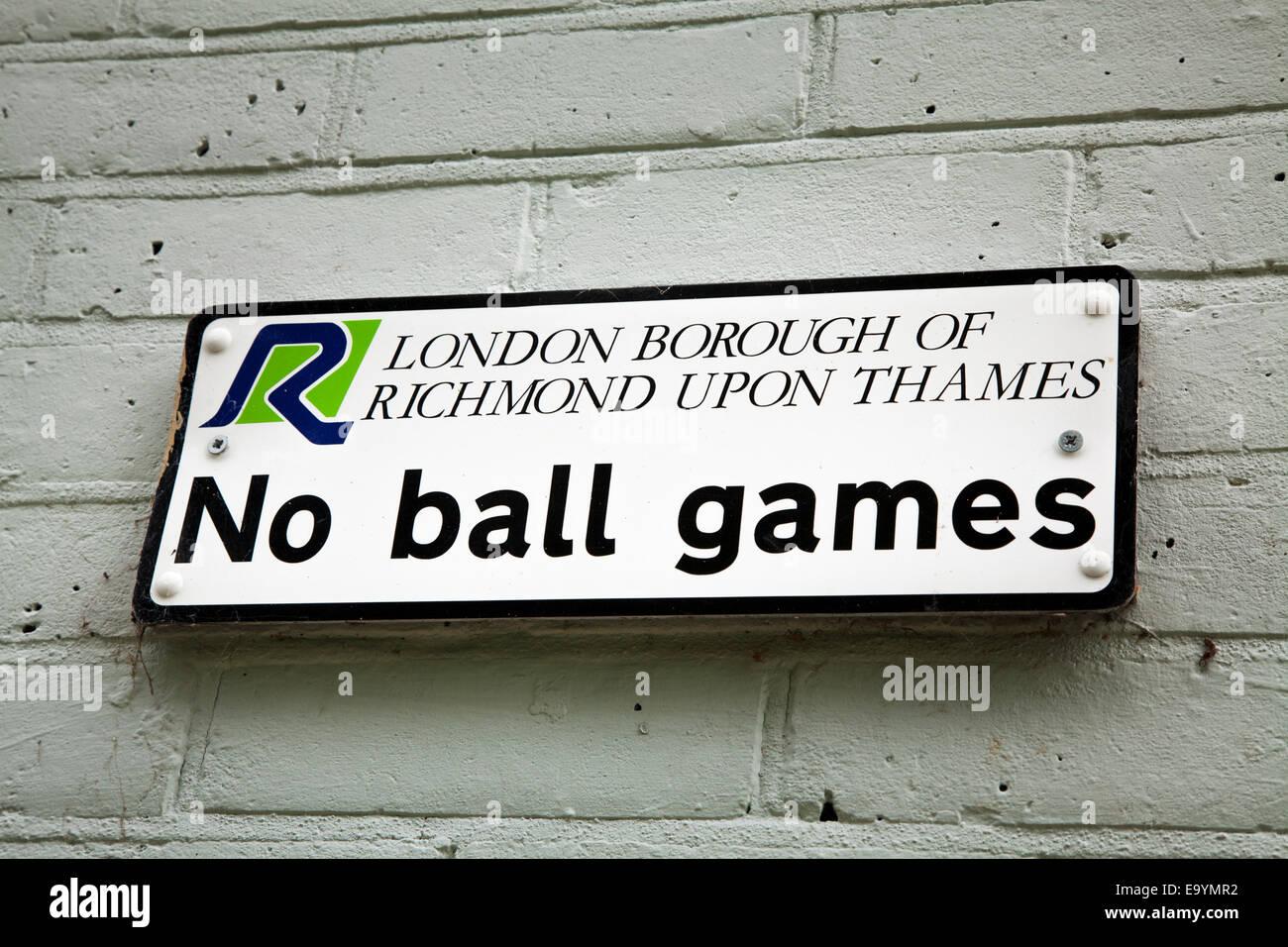No Ball Games sign at Richmond Upon Thames Stock Photo