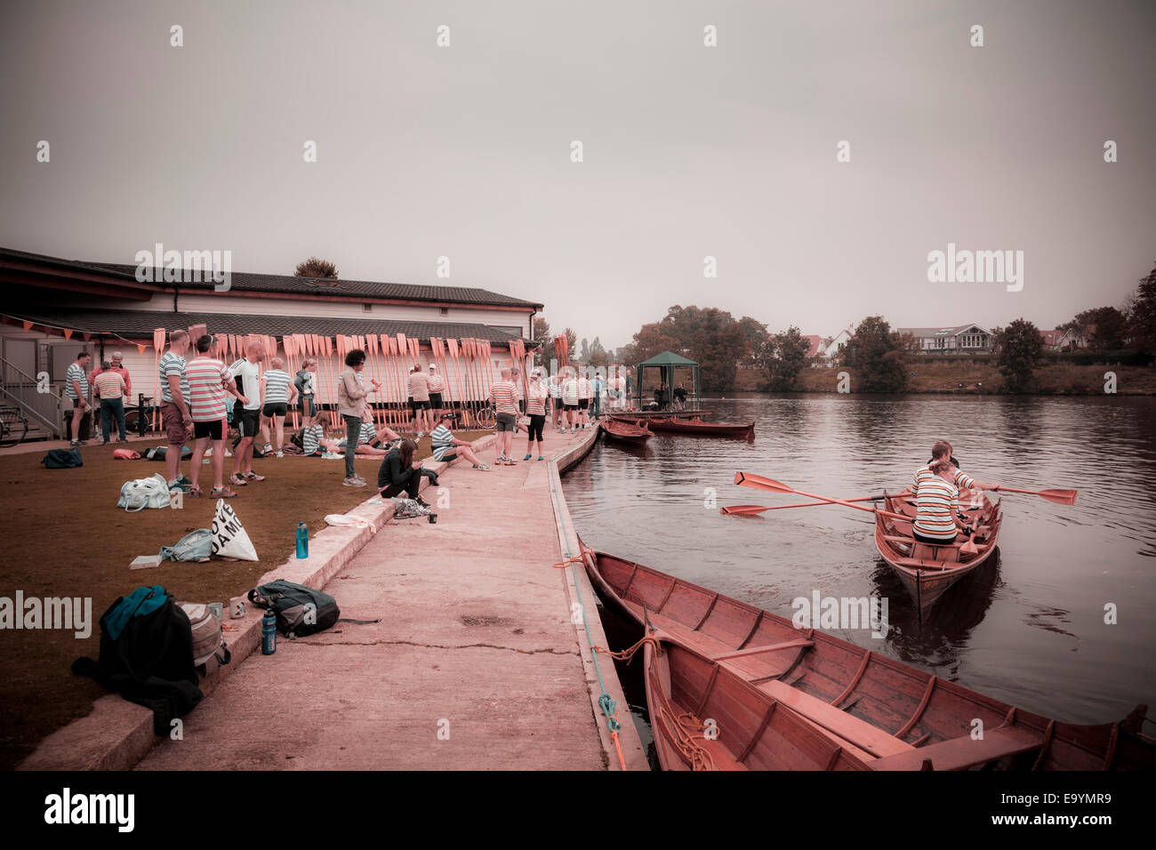 Rowing club skiff competition meeting on the thames instagram effect Stock Photo