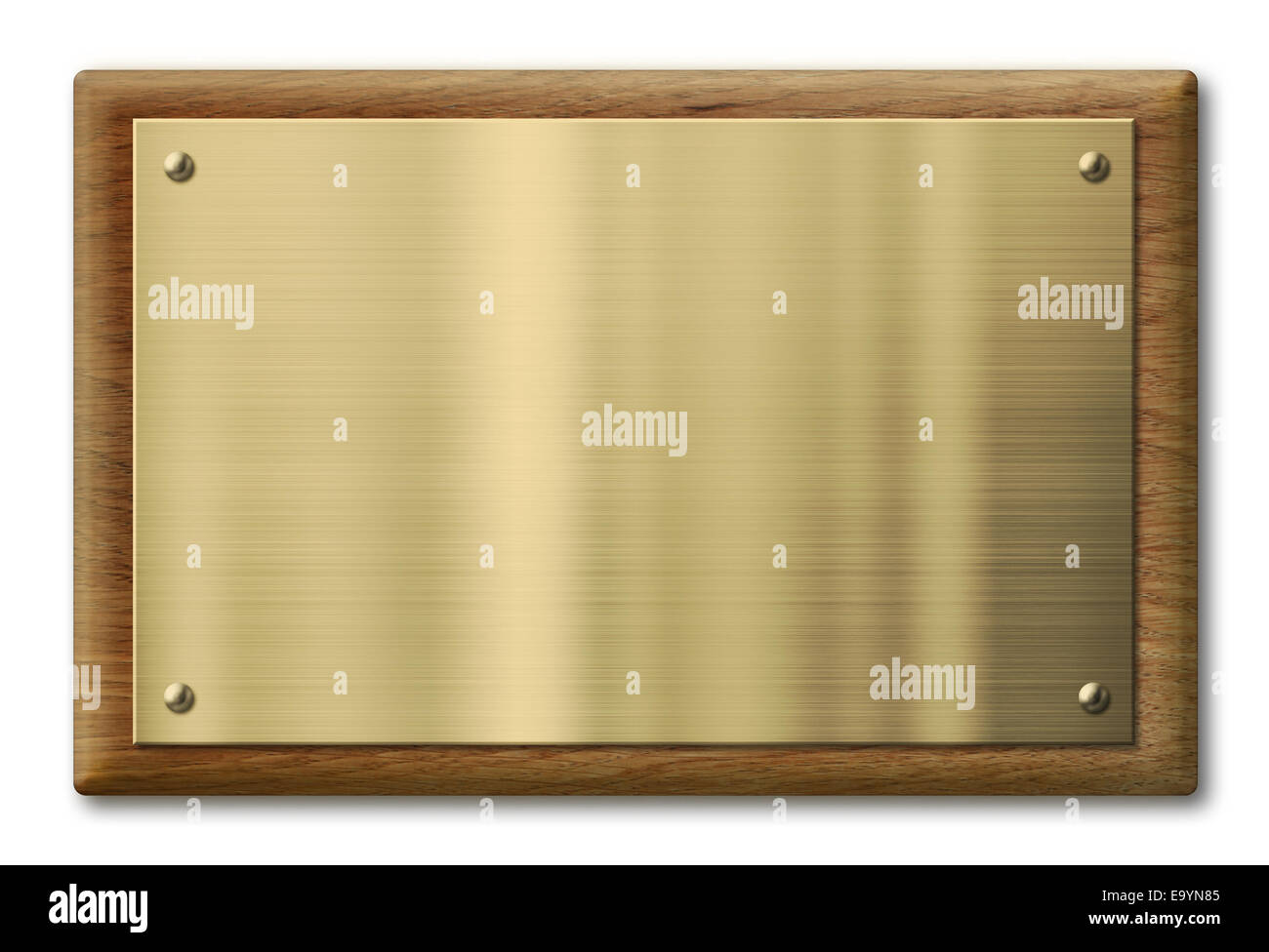 Wood plaque with brass or gold metal plate. Clipping path is included. - Stock Image