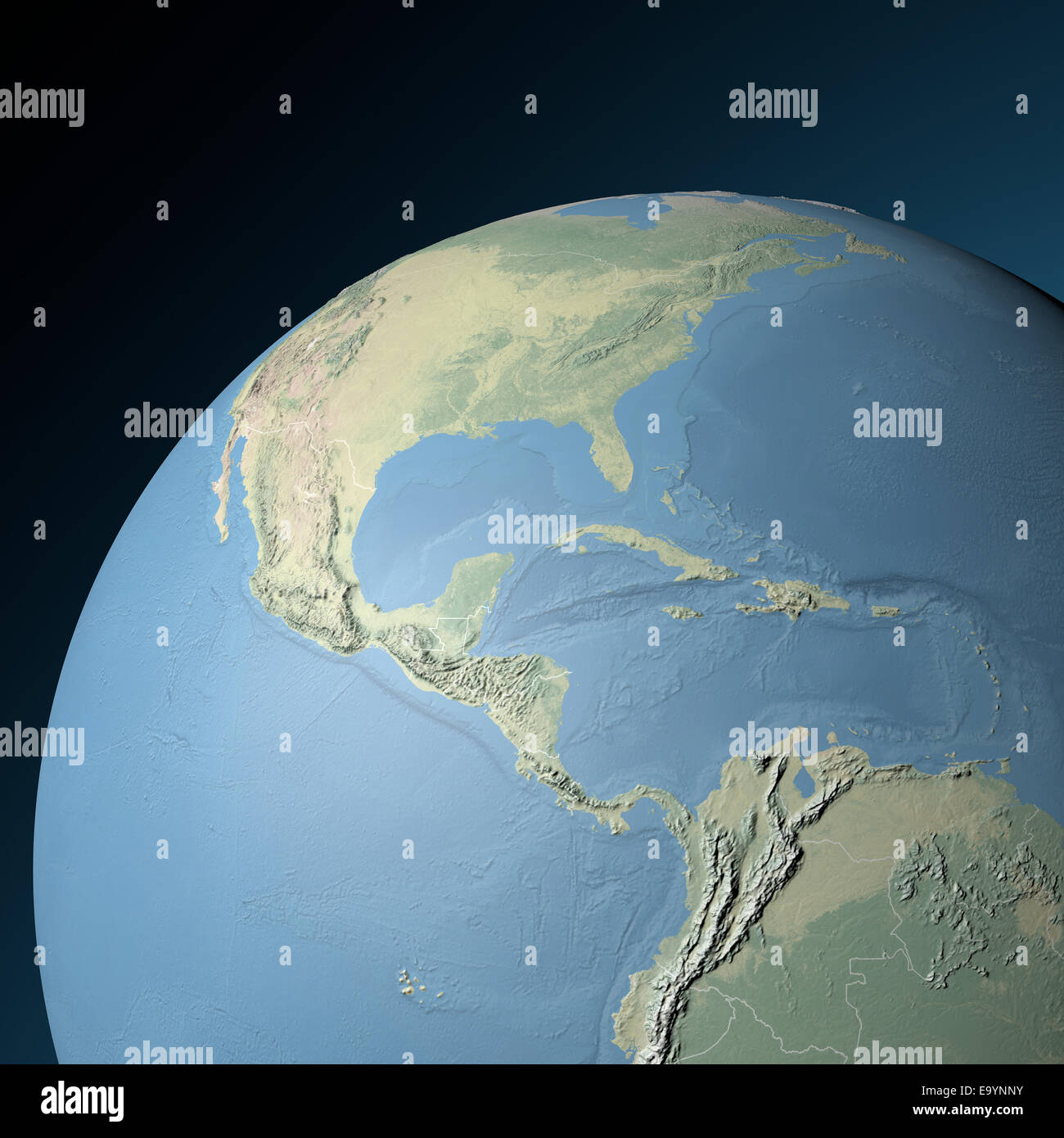 Physical relief map of Central America. Elements of this ...