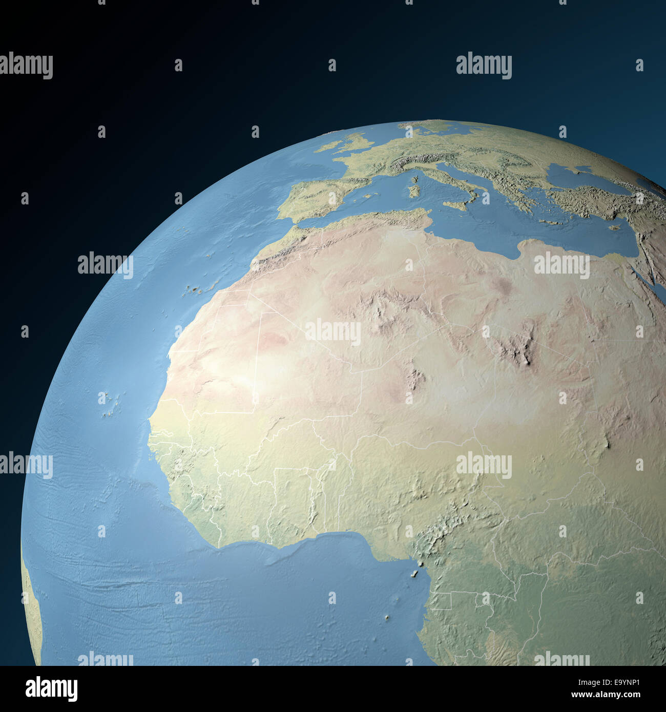 Map Of Africa From Space.North Africa Map Stock Photos North Africa Map Stock Images Alamy