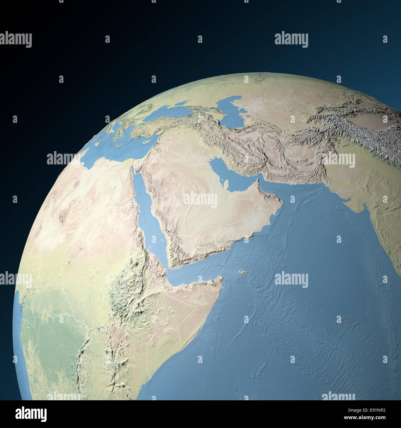 Physical map of Middle East. Elements of this image ...