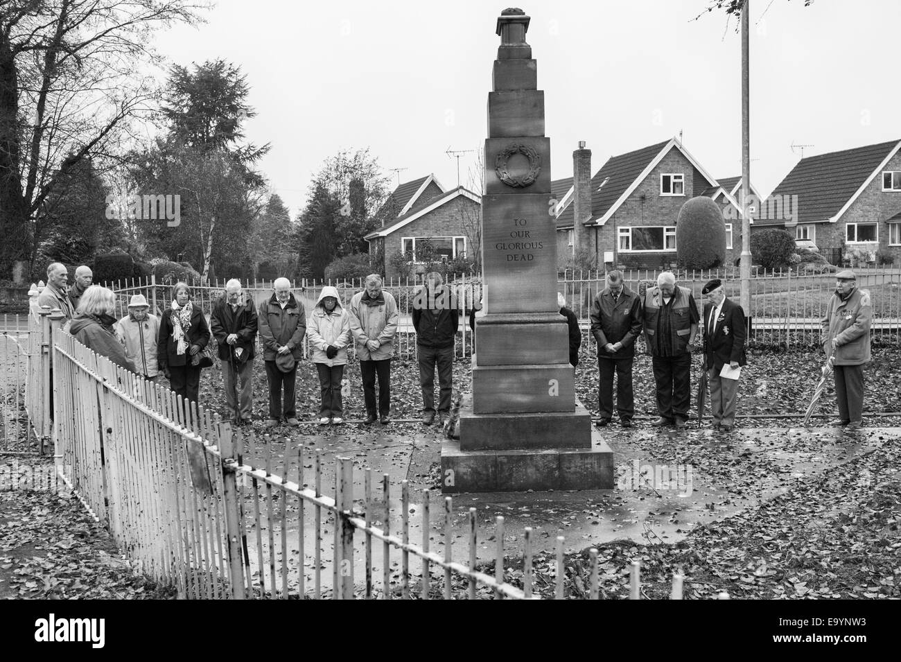 Armistice Day 11/11/11. A small group of old soldiers and their families gather at the war memorial in Presteigne, - Stock Image