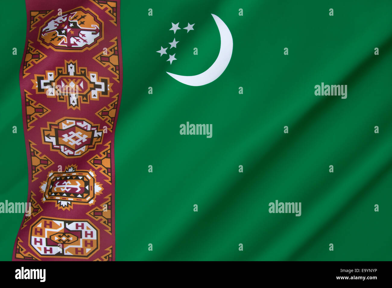The flag of Turkmenistan - Stock Image