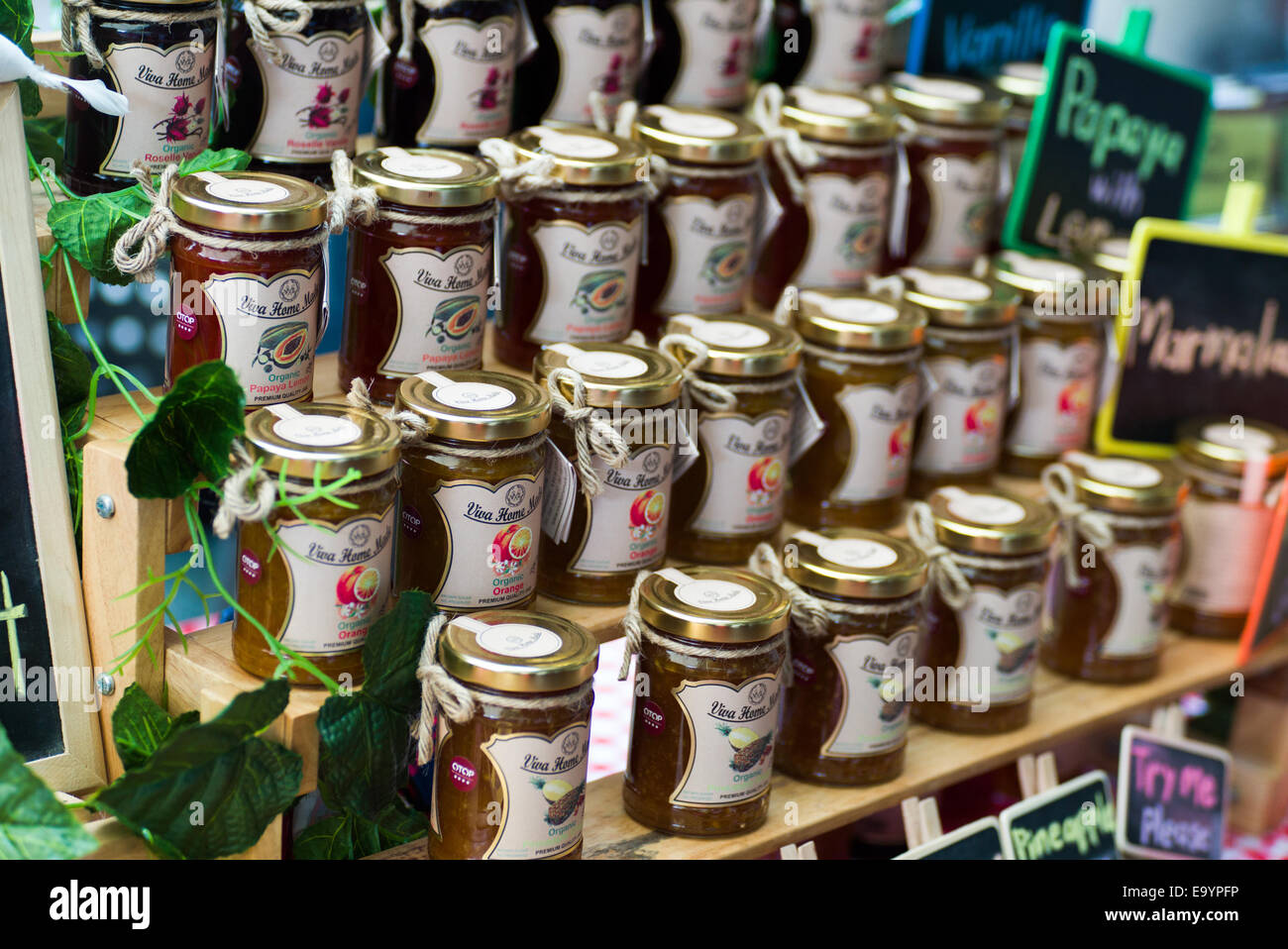 Otop Products  Organic Fruit Jam Made In Thailand Stock Photo