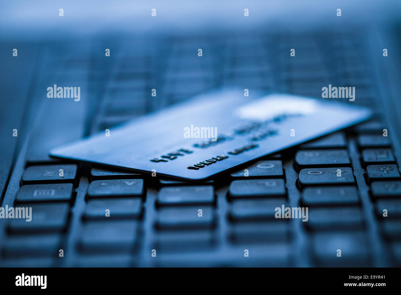 Online banking and bank transactions with credit card - Stock Image
