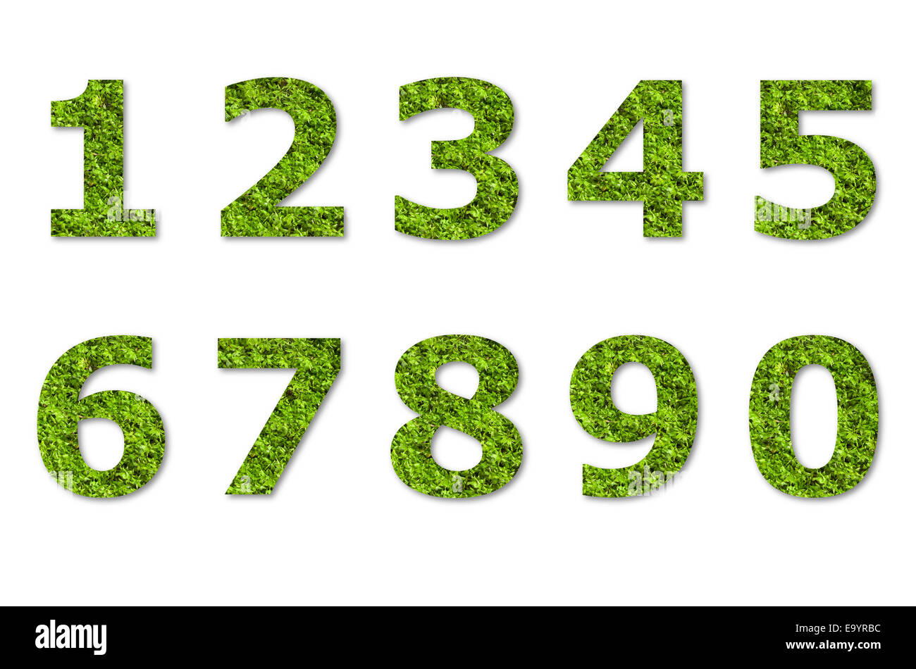 arabic numeric of green lichen isolated on white - Stock Image