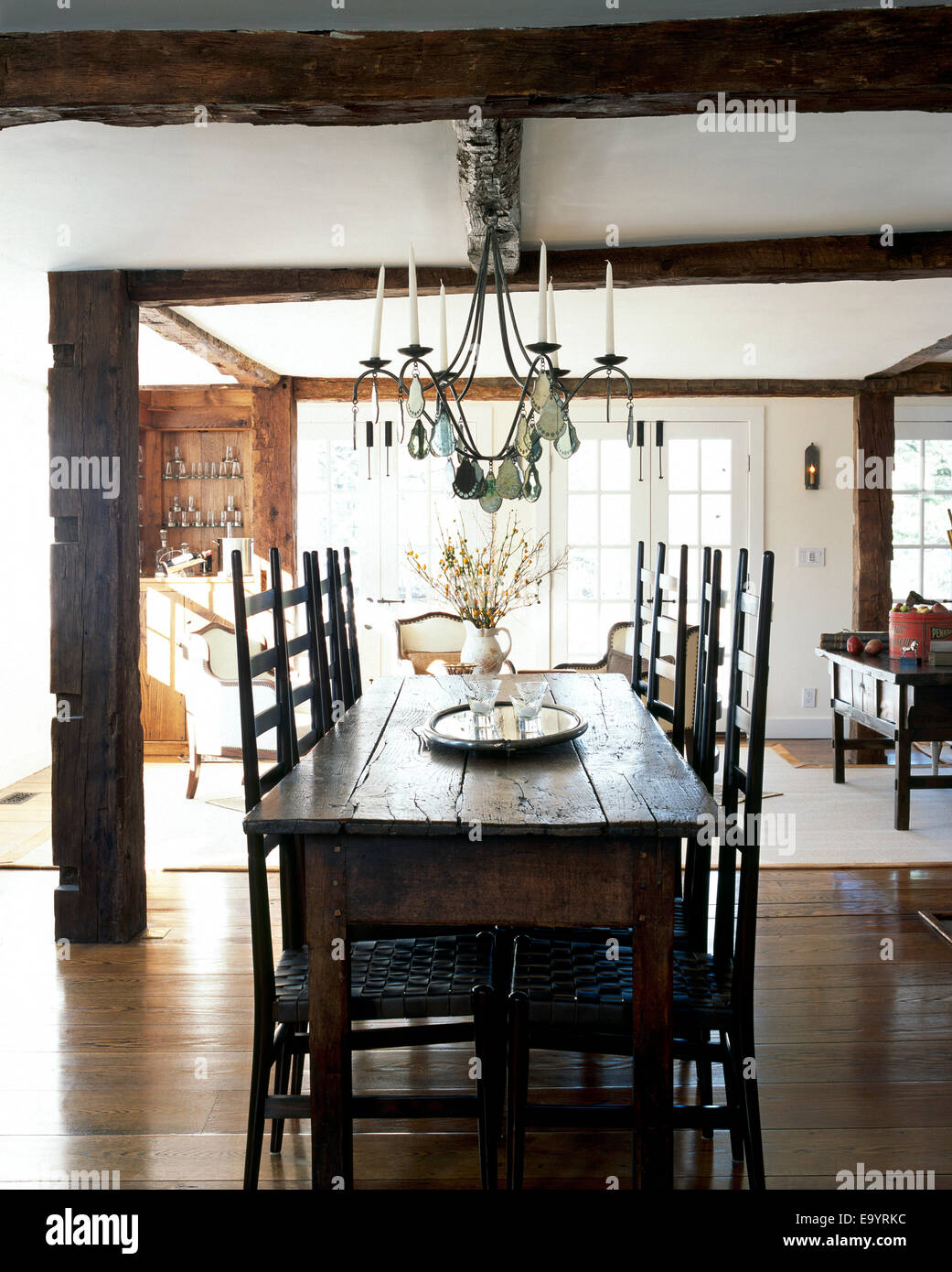 Dining room table and chairs in homes - Stock Image