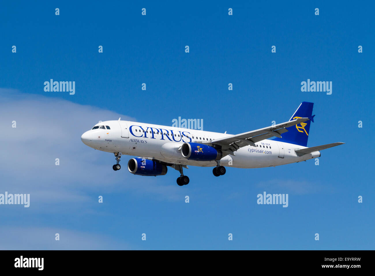Cyprus Airways Airbus A320-200, 5B-DCK, named Pafos, on its approach for landing at London Heathrow, England, UK, - Stock Image
