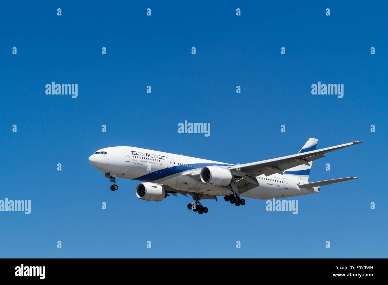 El Al Boeing 777-200, 4X-ECB, named Netanya, on its approach for landing at London Heathrow, England, UK - Stock Image