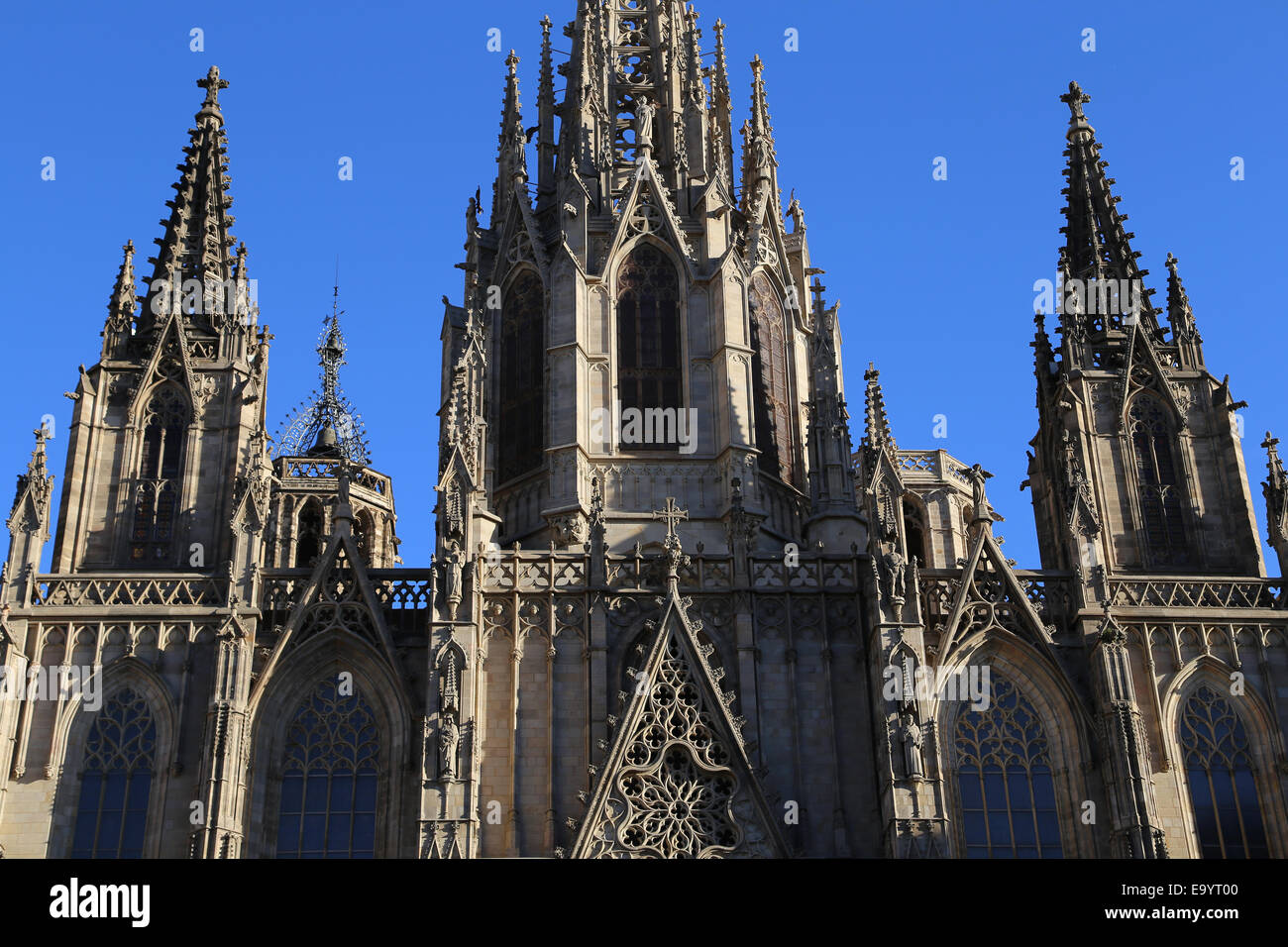 Spain. Catalonia. Barcelona Cathedral. Exterior. Facade Neo-gothic. 19th century. - Stock Image