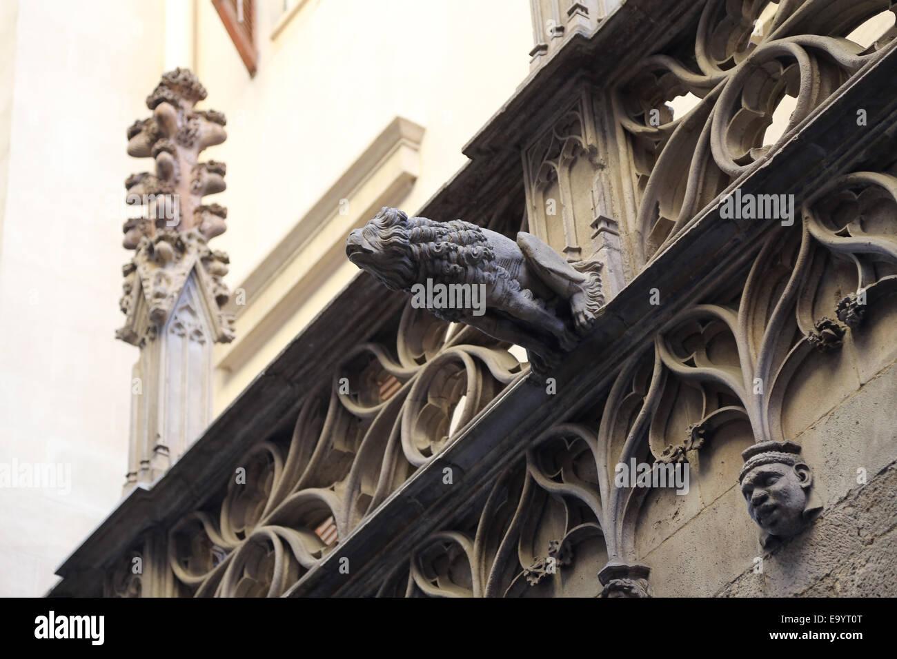 Spain. Catalonia. Barcelona. Gargolye on the Palau de la Generalitat, by Pere Johan (1397-1458). Gothic. Bishop - Stock Image