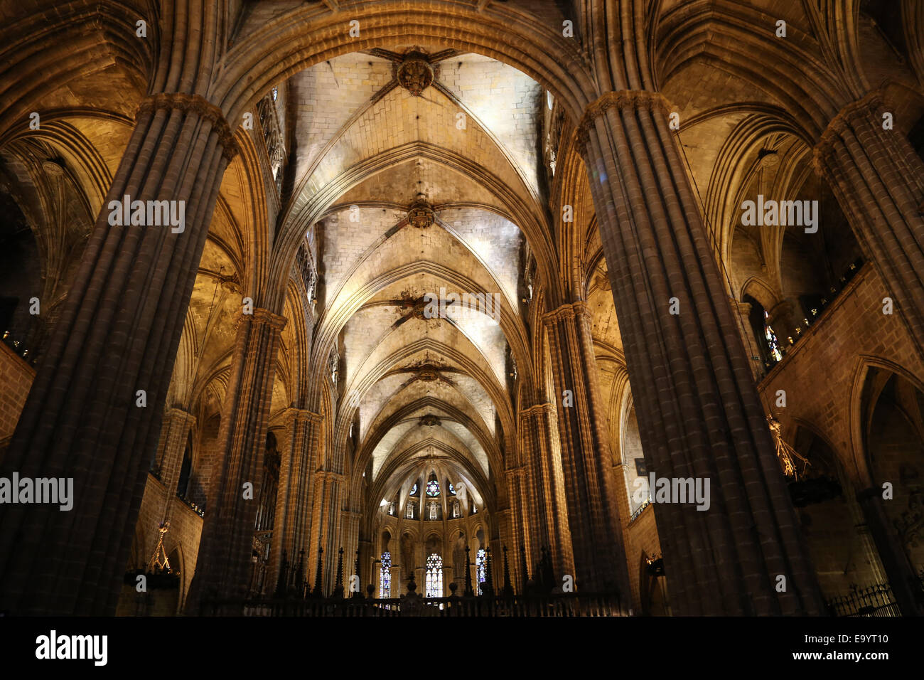 Spain. Catalonia. Barcelona Cathedral. Inside. 13th century. - Stock Image