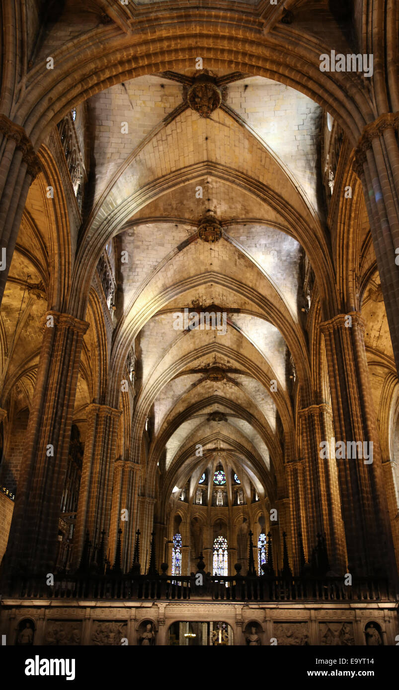 Spain. Catalonia. Barcelona Cathedral. Inside. Apse. 13th century. Stock Photo
