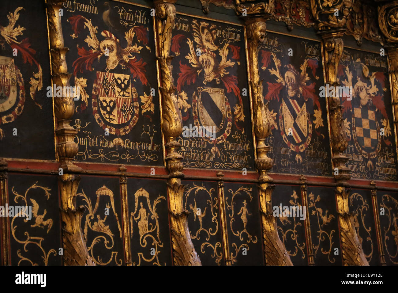 Spain. Barcelona. Cathedral of the Holy Cross and Saint Eulalia. The choir stalls. Detail of coats-of-arms. 16th - Stock Image