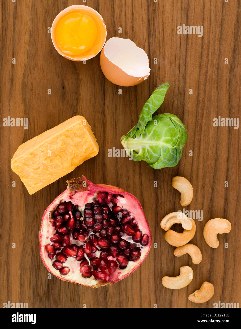 still life of various foods on wood surface - Stock Image