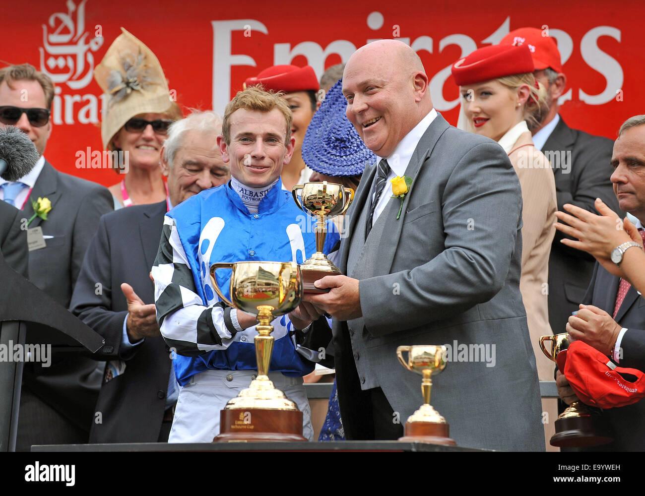 Flemington Racecourse, Melbourne, Australia. 04th Nov, 2014. PROTECTIONIST (GER) jockey Ryan Moorr gets his winners - Stock Image