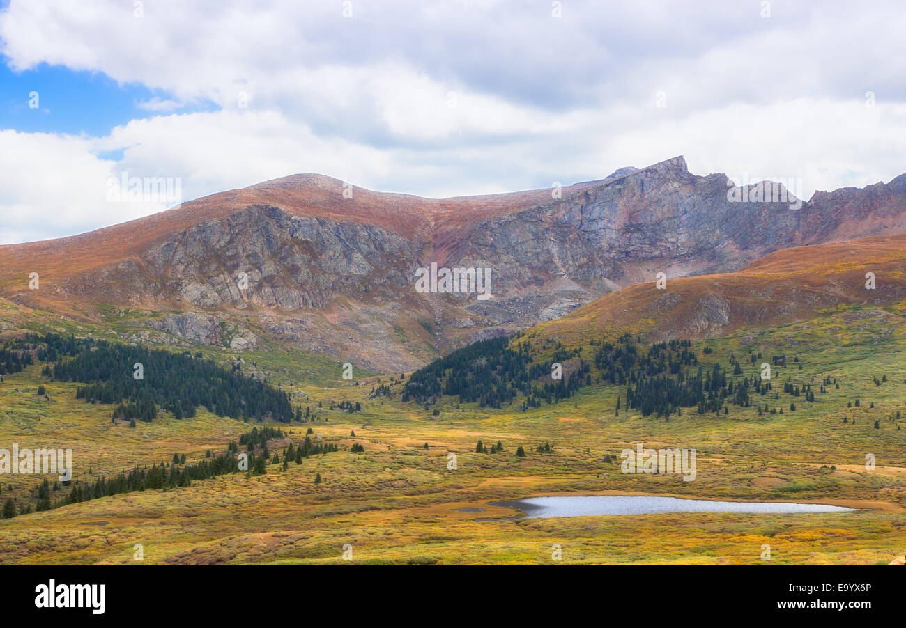 This image is a Fall scene at the Guanella Pass summit looking across the landscape in the Arapaho National Forest. - Stock Image
