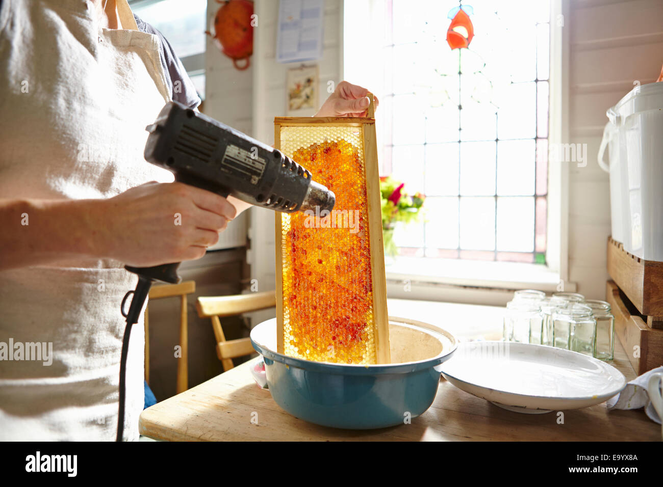 Female beekeeper in kitchen melting wax on frame of honey - Stock Image